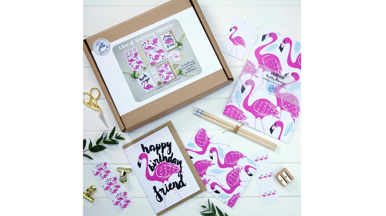 Flamingo design stationery range