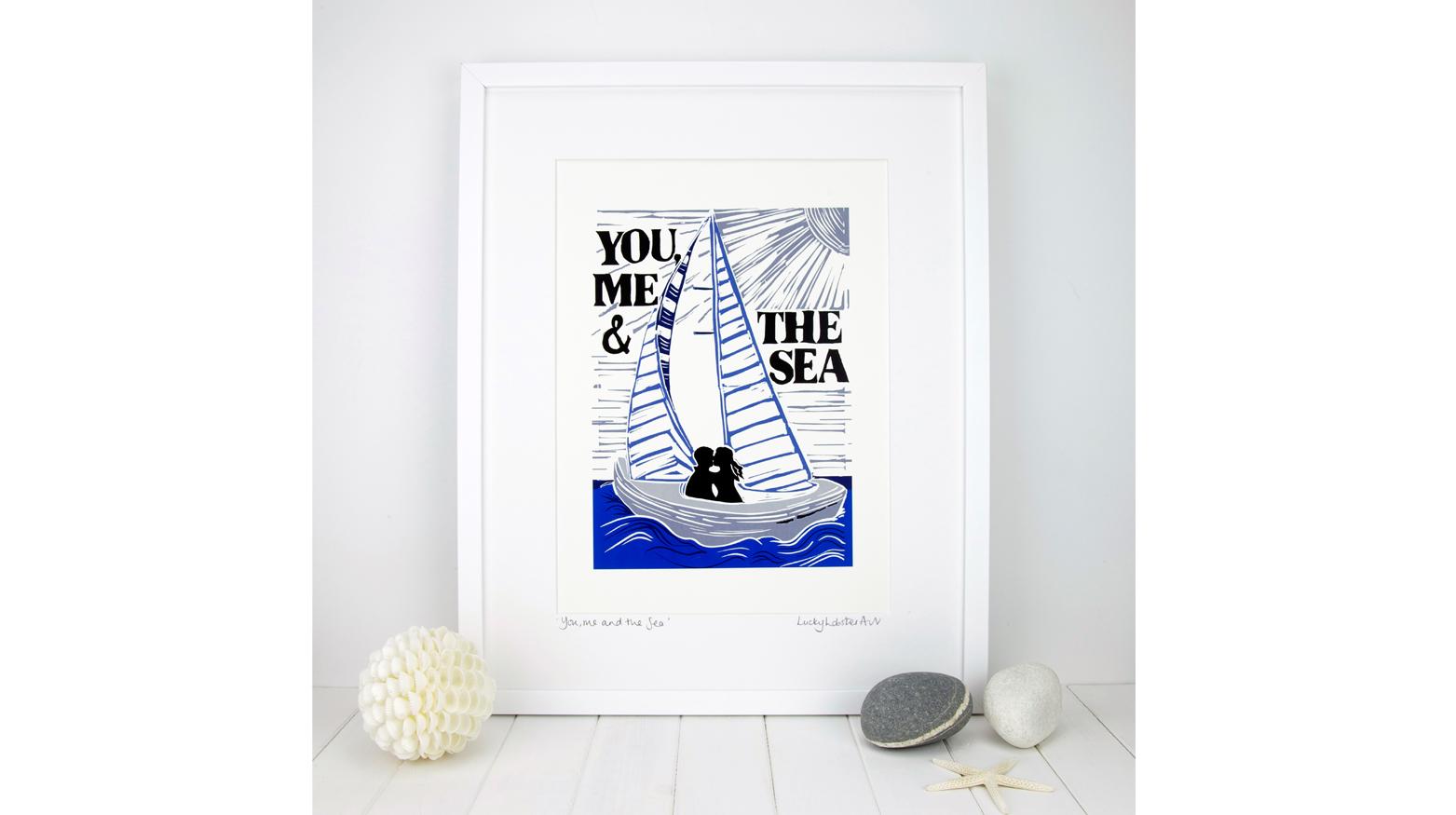 Framed sailing boat art print