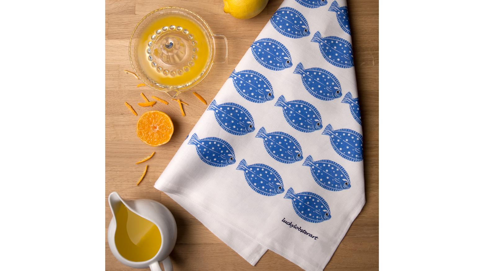 Fish pattern tea towel design