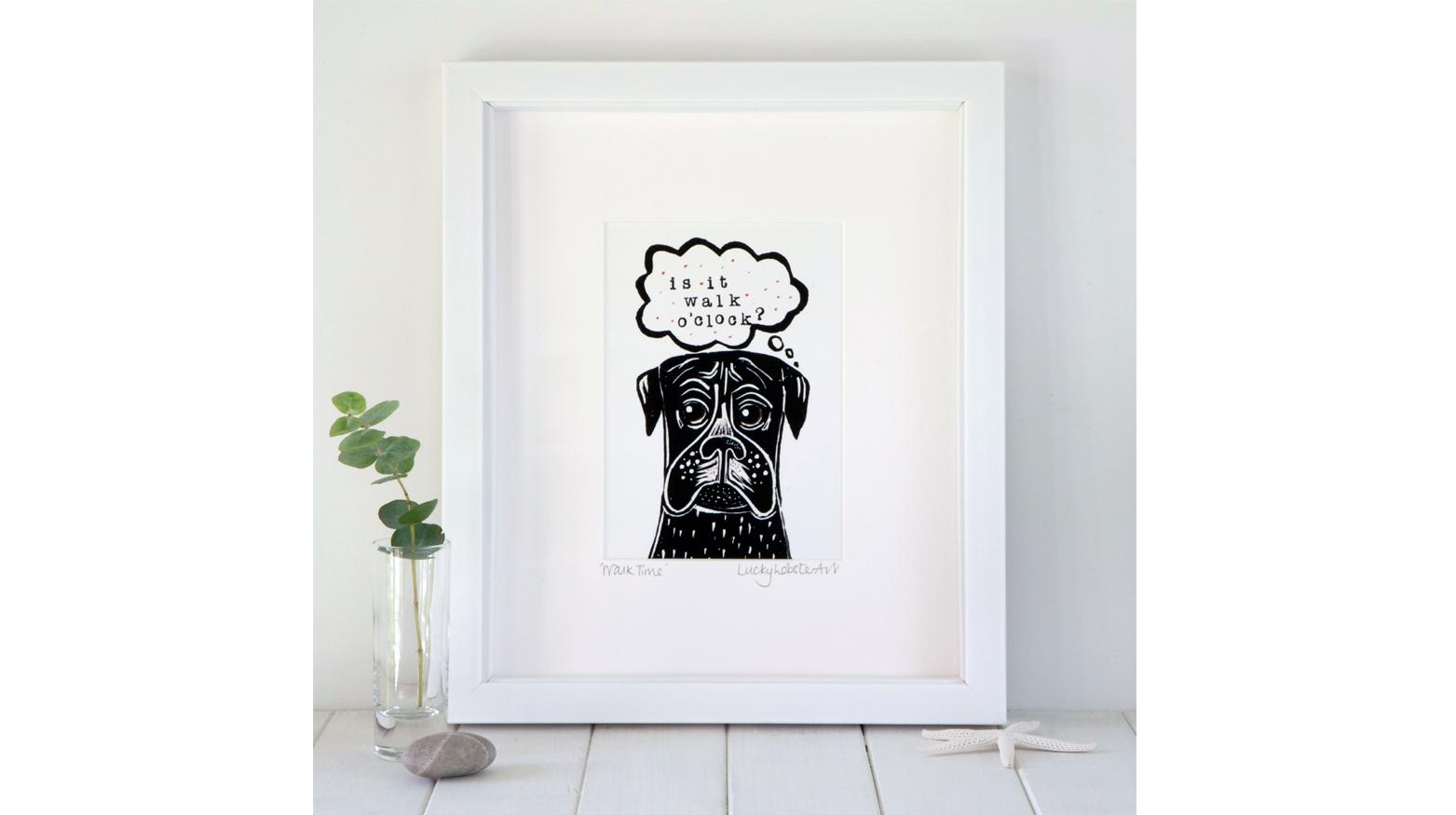 Framed dog art print