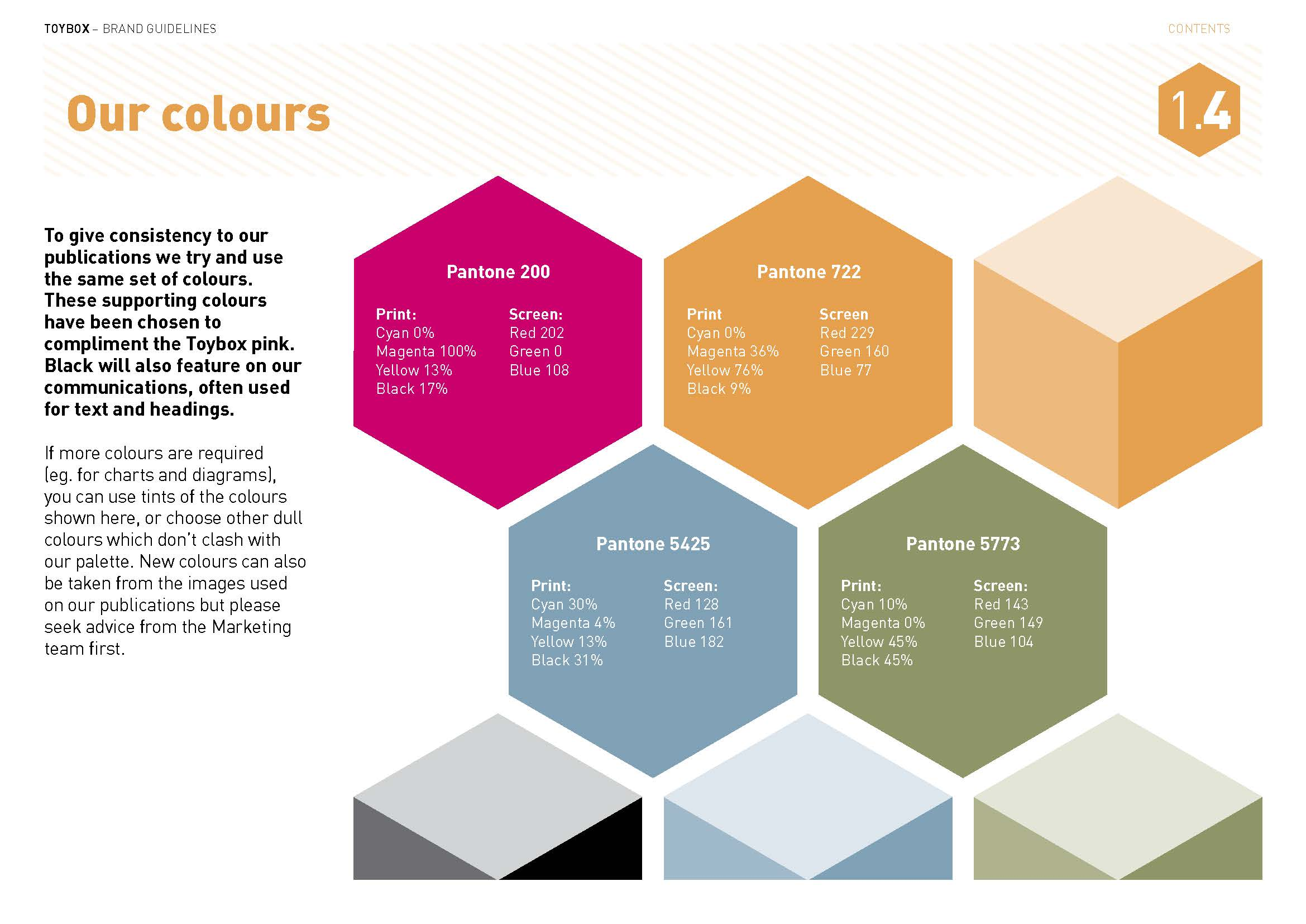 Toybox brand styleguide page - Our colours