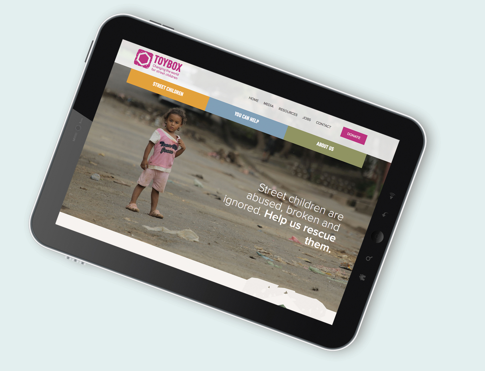 tablet screen showing Toybox website homepage