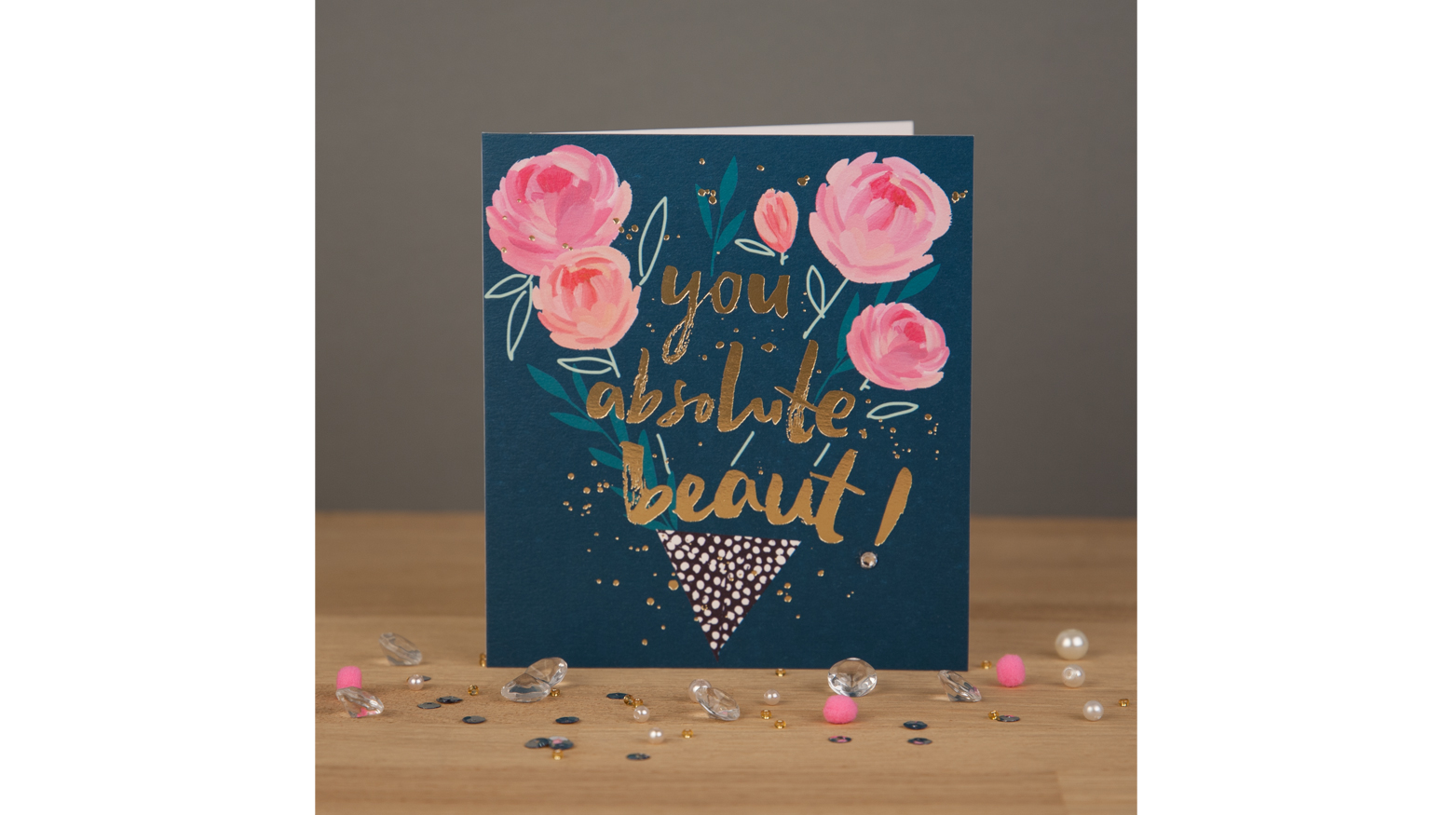 Floral design greeting card