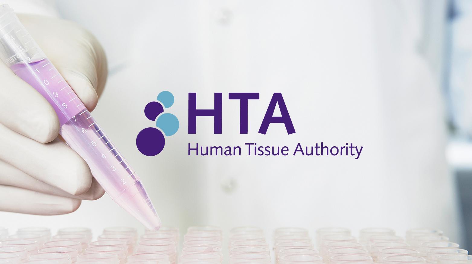 HTA logo displayed over a white coat lab image