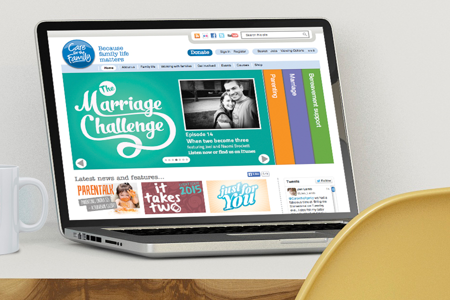 Computer screen and tablet screen showing Care for the Family website