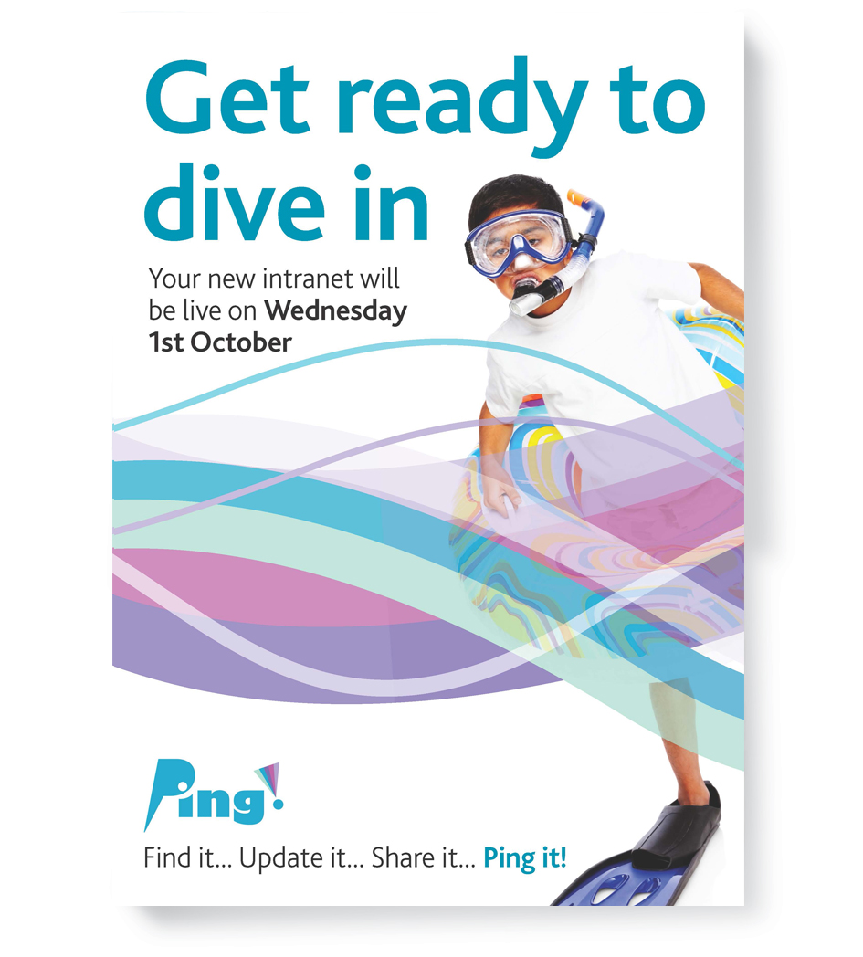 Boy with mask and snorkel - intranet launch campaign design
