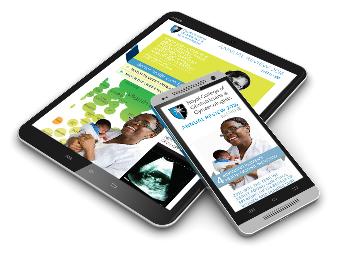 Tablet and smart phone screens showing RCOG annual report design