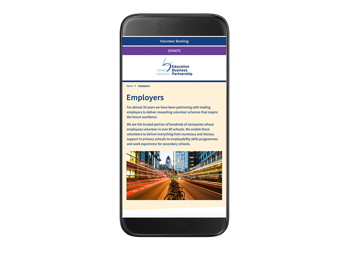 THEBP smart phone screen employers page